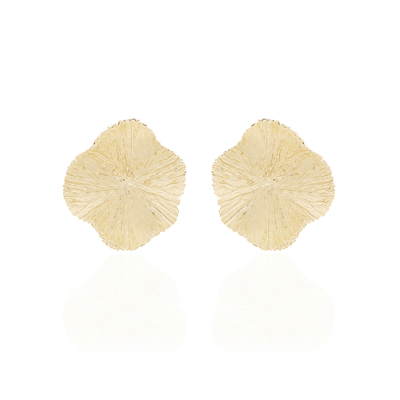 Gold Textured Floral Earrings