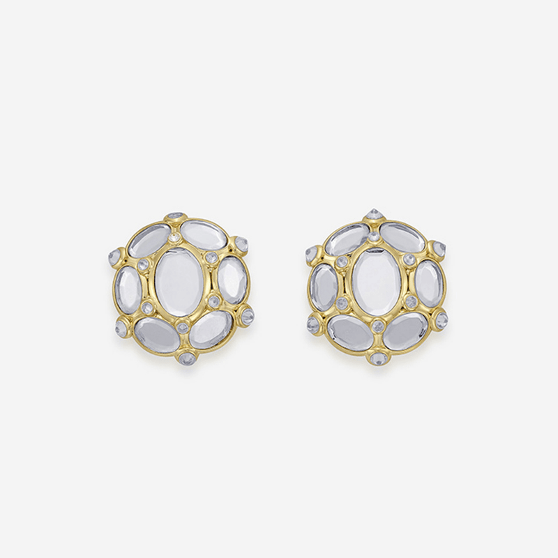 Oval Mirror Stud Earrings
