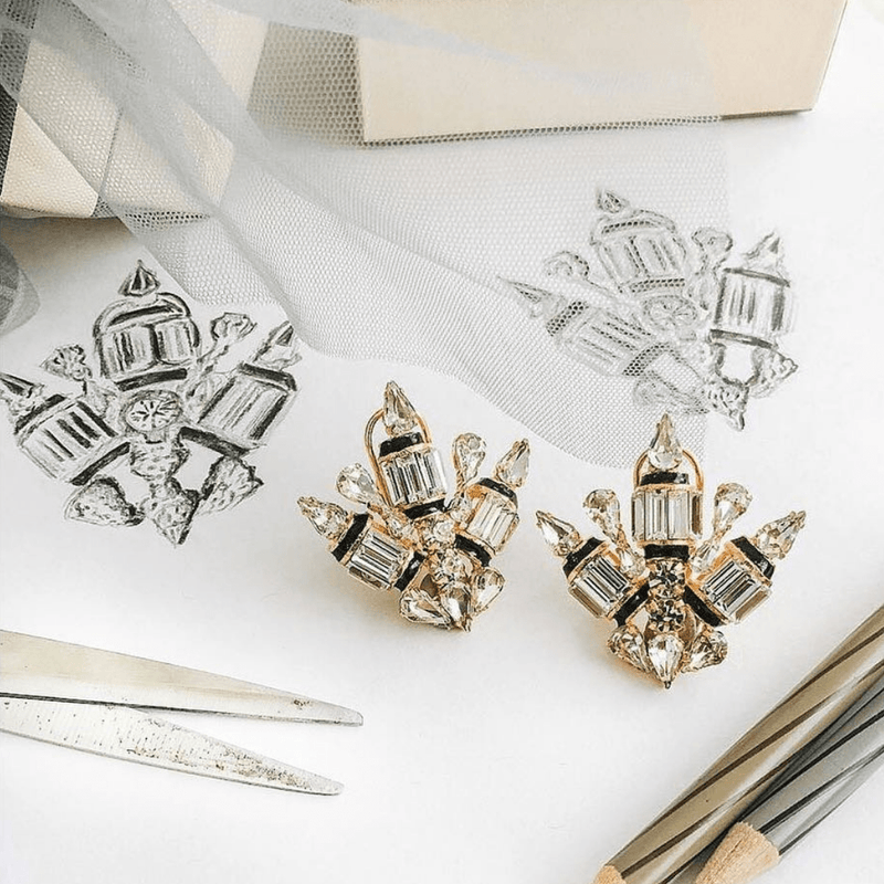Geometric Swarovski Stud Earrings