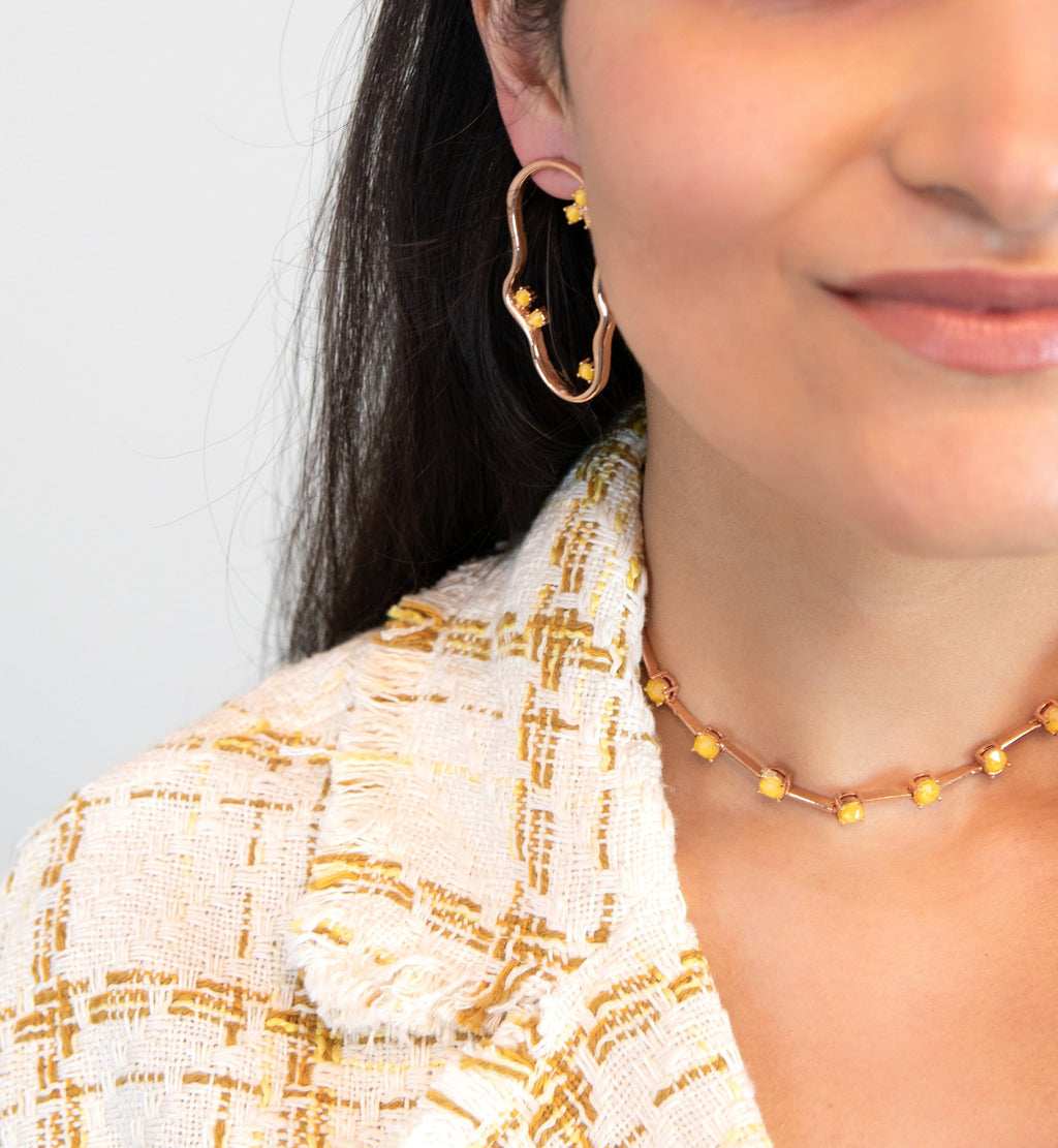Asymmetric hoop earrings in yellow- The Jewel Jar
