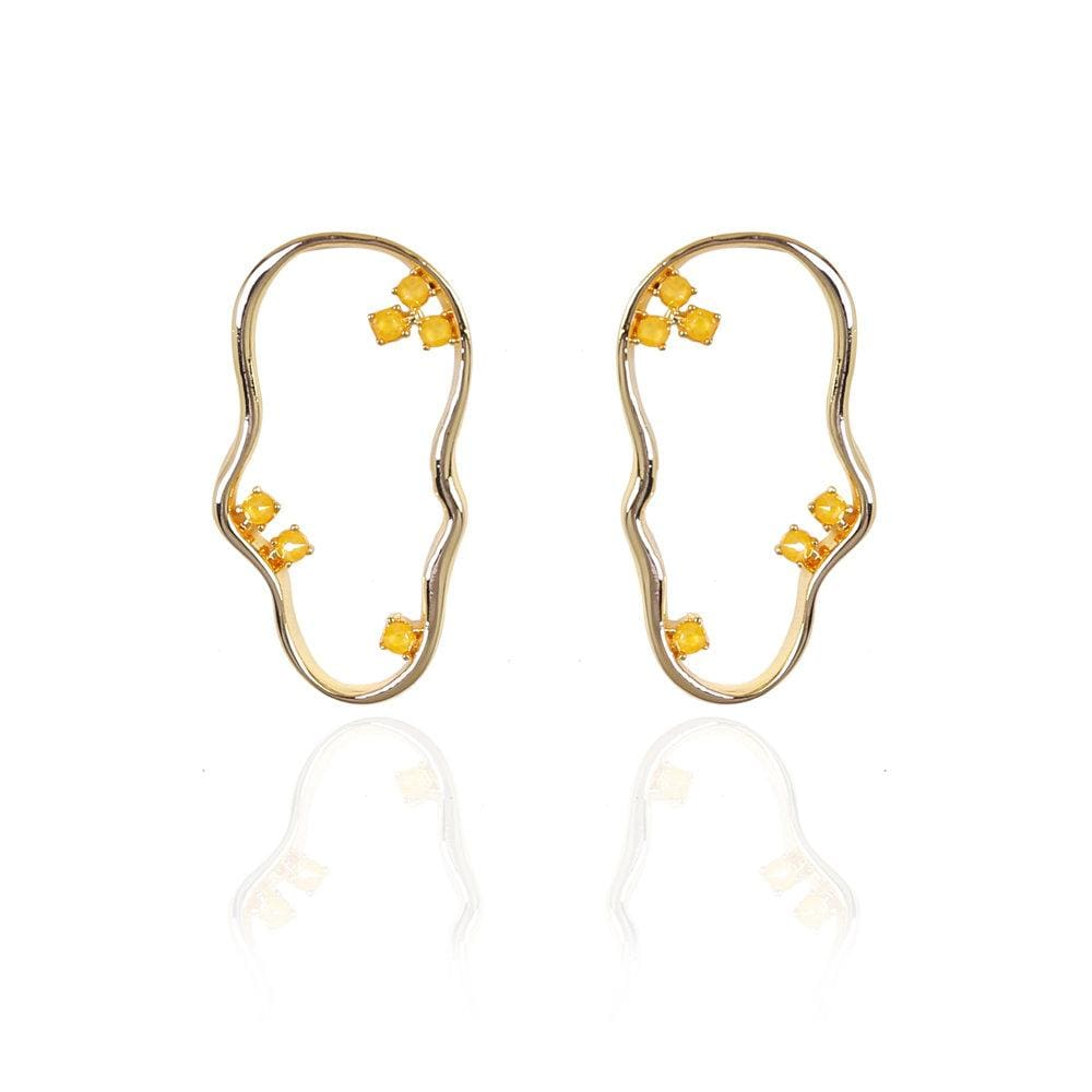 Asymmetric hoop earrings yellow- The Jewel Jar