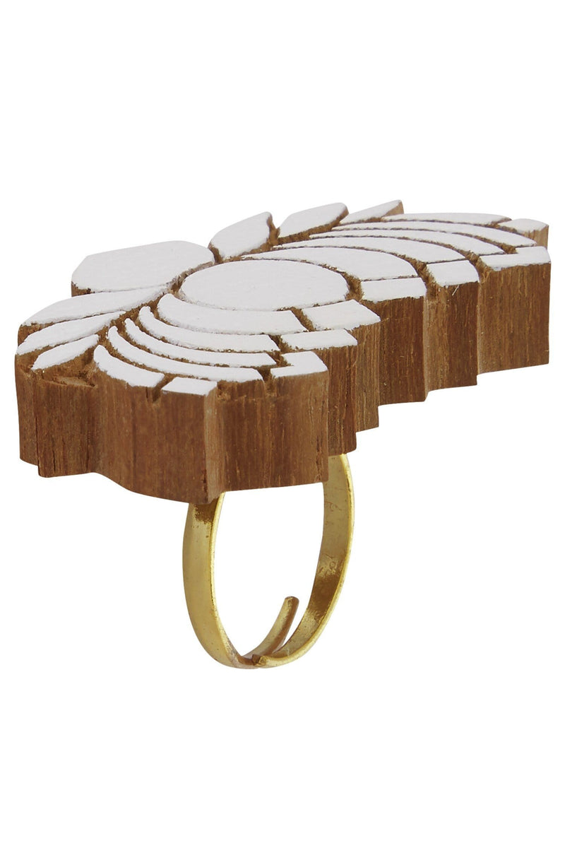 Wooden Lotus Ring