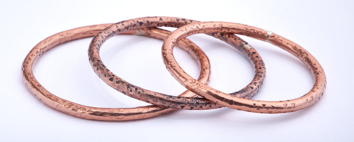 SET 0f (3) - Diamond Speckled Copper Bangles