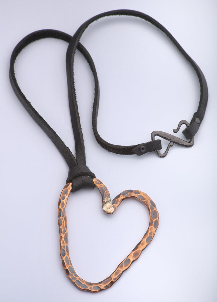 Small Hammered Copper Heart Necklace - (Oxidized)