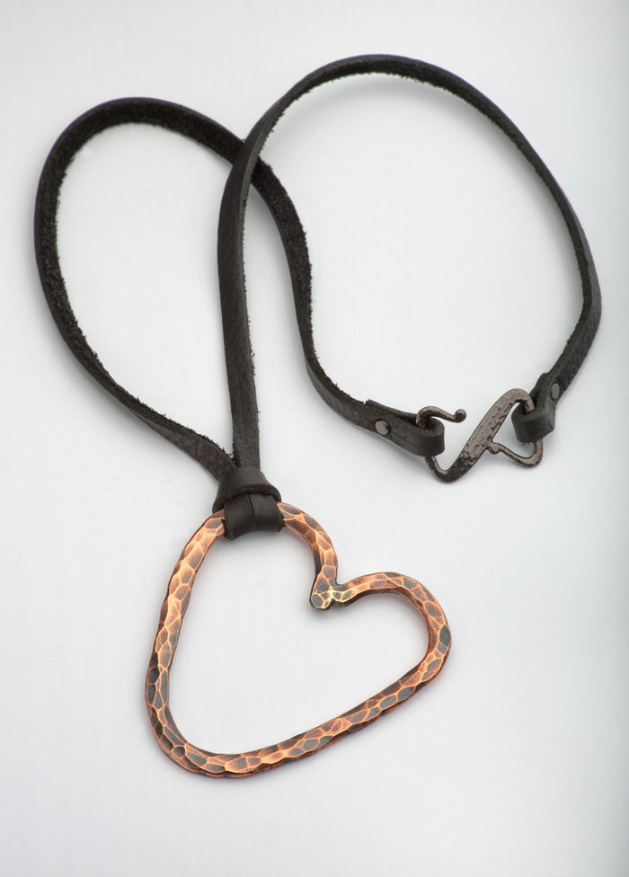 Lg. Hammered Copper Heart Necklace - (Oxidized)