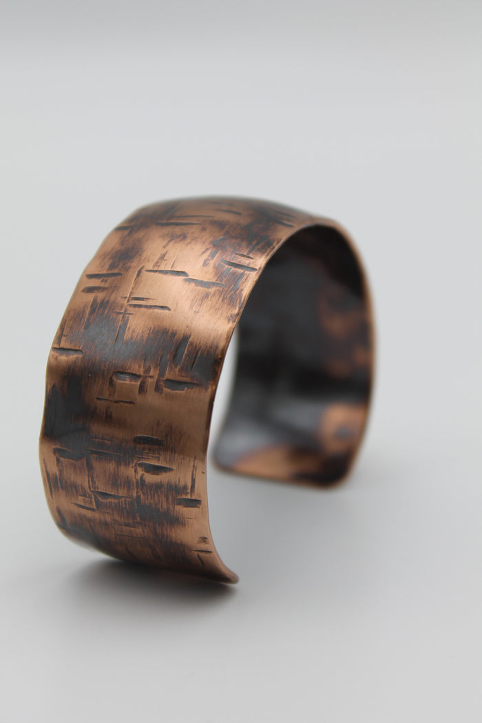 "1/4"" Thin Basket Weave Copper Cuff - (Oxidized)"