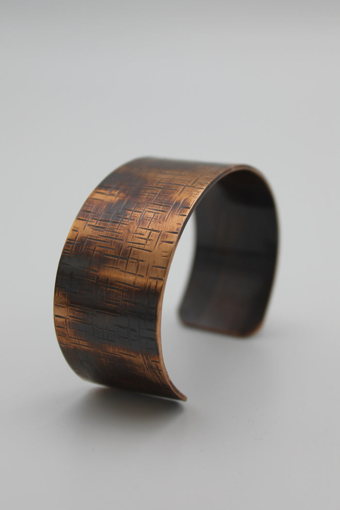 "1/2"" Thin Basket Weave Copper Cuff - (Oxidized)"