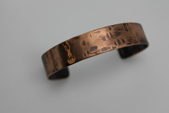 "2"" Thick Basket Weave Copper Cuff - (Oxidized)"