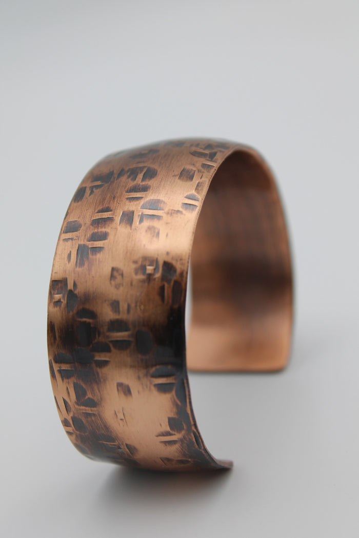 "1"" Thick Basket Weave Copper Cuff - (Oxidized)"