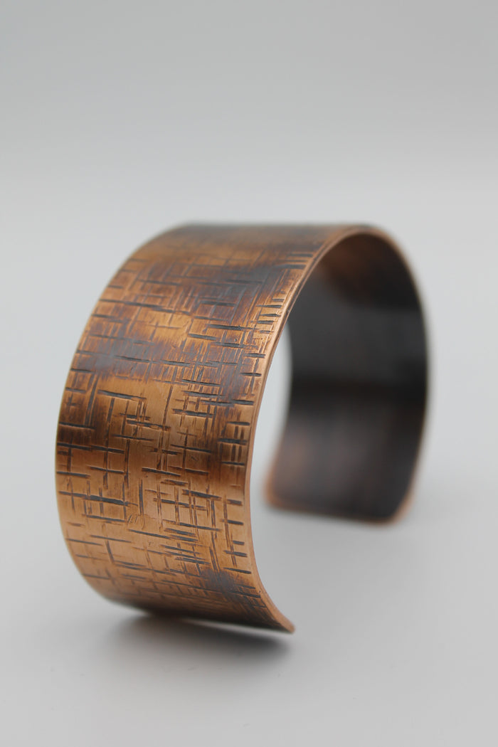 "1"" Thin Basket Weave Copper Cuff (Oxidized)"