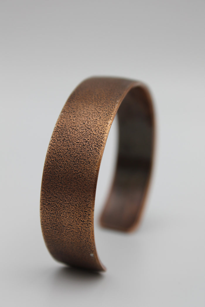 "1/2"" Frosted  Copper Cuff - (Oxidized)"
