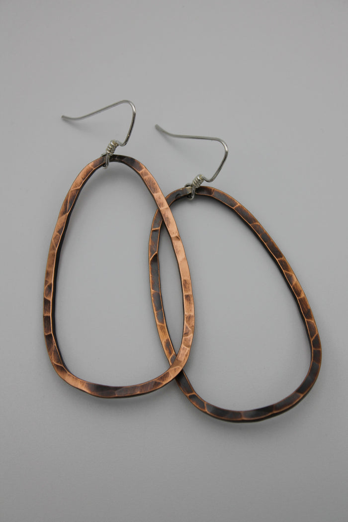 Lg. Copper Hoop Earrings (Oxidized)