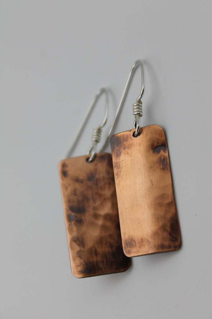 Gladiator Copper Earrings (Oxidized)