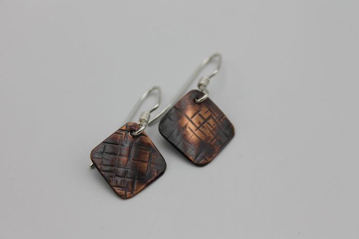 Thin Basket Weave Sm. Diamond Copper Earrings