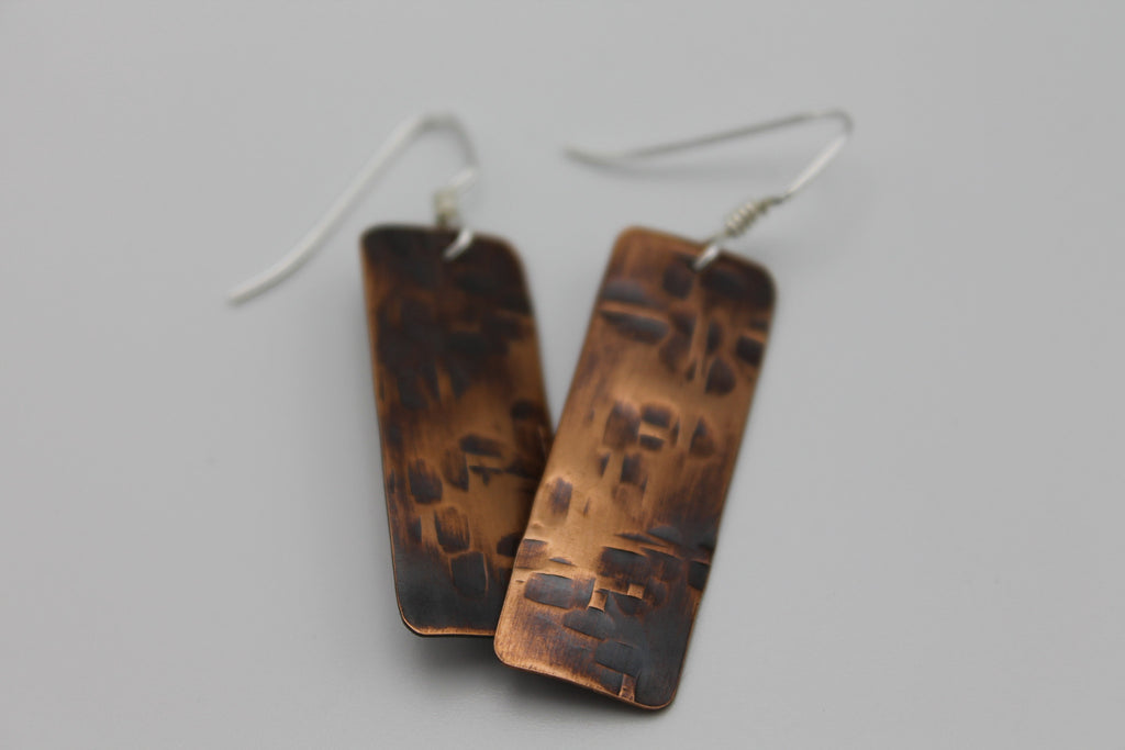 Thick Basket Weave Copper Earrings (Oxidized)