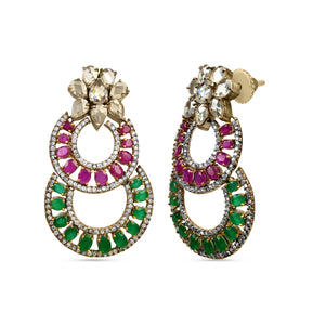 Victorian Classic Red and Green Earrings by HAUTE COUTURE