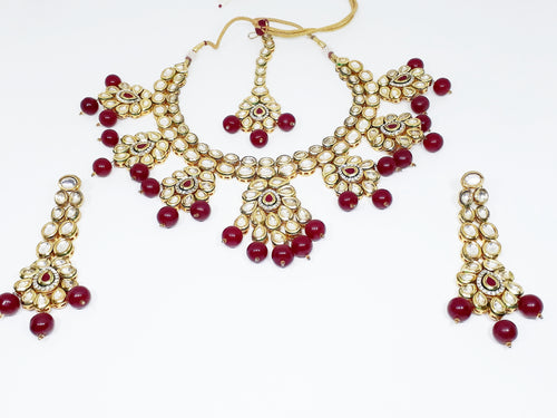 Kundan Necklace with Red Agates micro gold Plated
