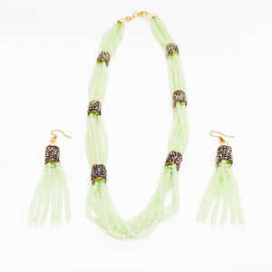 Mint Crystal Necklace By HAUTE COUTURE