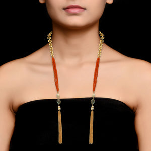 Carnelian Stole Necklace by HAUTE COUTURE