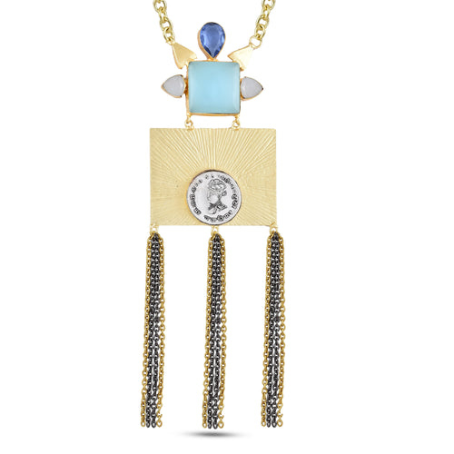 AUDREY - NECKLACE BY AURIC EXPLOSION Necklace Jewelry by Statements BLUE&WHITE