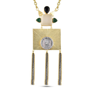 AUDREY - NECKLACE BY AURIC EXPLOSION Necklace Jewelry by Statements WHITE&GREEN