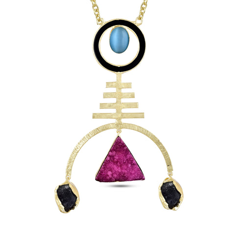 ELDORA NECKLACE BY AURIC EXPLOSION Necklace Jewelry by Statements Pink&Blue