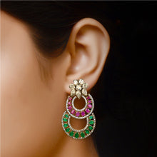 Load image into Gallery viewer, Victorian Classic Red and Green Earrings by HAUTE COUTURE