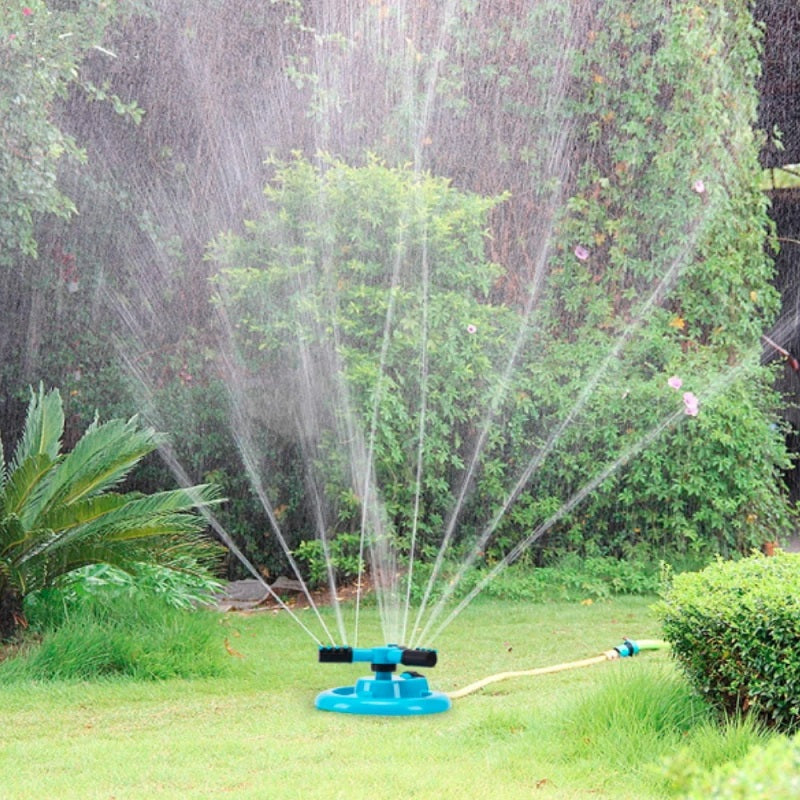 Keep your grass and garden hydrated on hot and sunny days with garden sprinkler. Designed to automatically rotates 360 degrees to cover your whole garden with 3 adjustable arms for customized coverage.