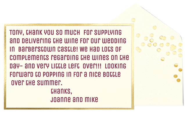 wedding wine testimonial grape and bean wine delivered to your home