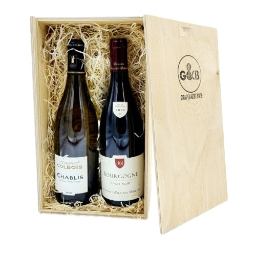Burgundy Classic Red & White Wine Wooden Gift Box Twin
