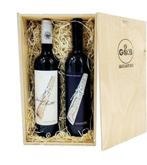 Italian Tuscan Organic Red & White Wooden Gift Box Twin