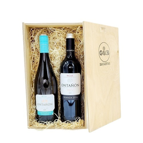 Rioja Red & White Wooden Gift Box Twin