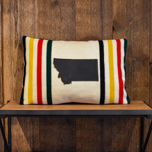 "Glacier National Park 14""x20"" Pendleton Wool Pillow with Large Montana Patch"