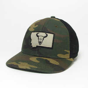 Montana State Steer Patch Green Camo Mid-Pro Snapback Hat