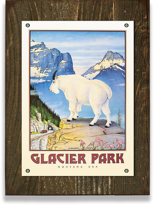 "Glacier National Park Mountain Goat Monte Dolack 23""x31"" Wood Sign With Studs"