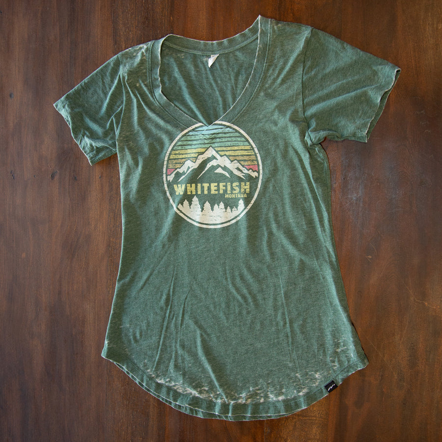 Good Timing Whitefish Montana Basil V-Neck T-Shirt