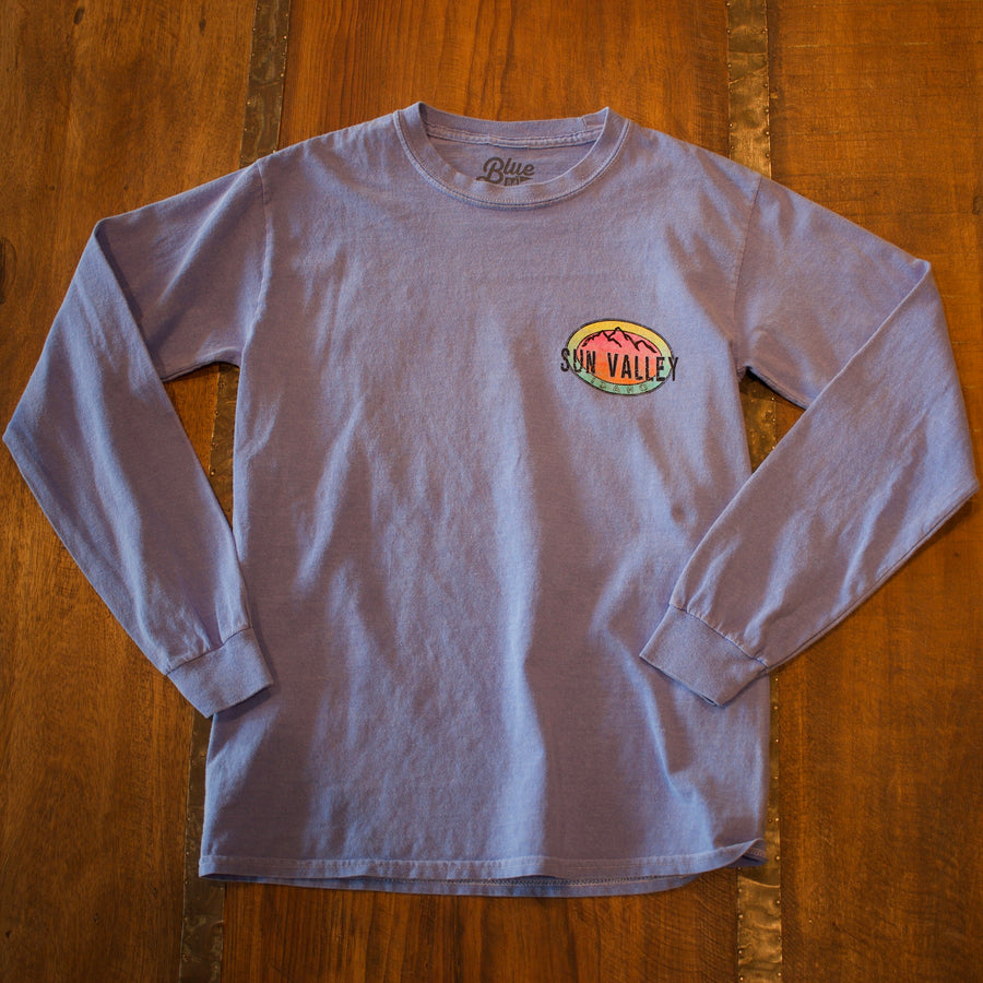 In the Water Mountain Sun Valley Idaho Periwinkle Long-Sleeved T-Shirt