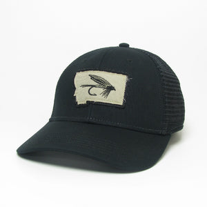 Montana State Fly Black Trucker Hat