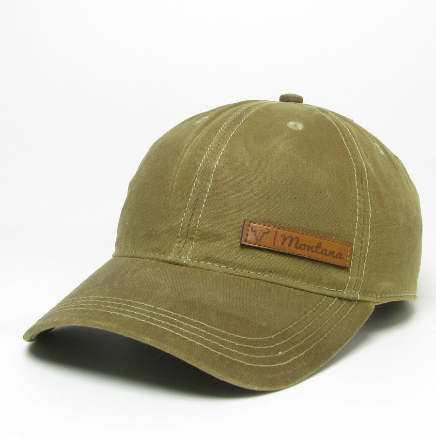 Montana Steer Leather Patch Tan Waxed Cotton Hat