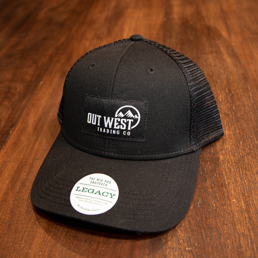 Out West Trading Co Black Mid-Pro Trucker Hat