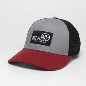 Out West Trading Co Grey/Red Mid-Pro Trucker Hat