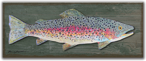 "Rainbow Trout 17""x44"" Curved Metal on Wood Sign17X44 Wood Back w/Metal Curved"