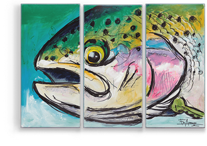 "Rainbow Trout 63""x42"" 3 Panel Aluminum Box Art"