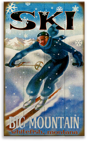"Ski Big Mountain Whitefish Montana Blue & White Snowflake Skier 18""x30"" Wood Sign"