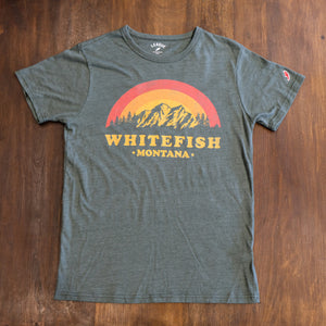 Sunset Whitefish Montana Green T-Shirt
