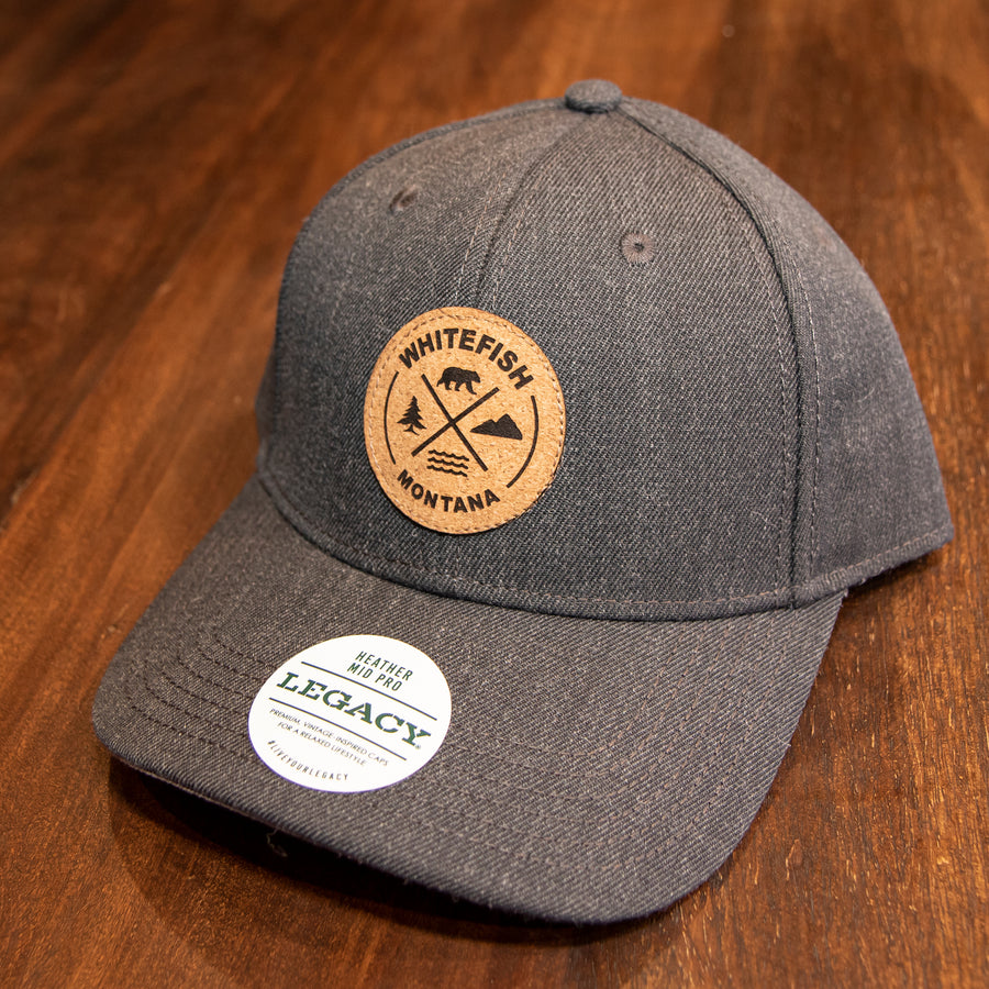 Whitefish Montana Cork Patch Heather Charcoal Trucker Hat