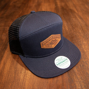 Whitefish Montana Leather Patch Navy/Black High Crown 7 Panel Snapback Hat