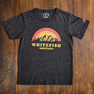Sunset Silhouette Whitefish Montana Charcoal Youth T-Shirt