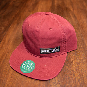 Whitefish Mountain Patch Burgundy 5 Panel Flat Brim Hat
