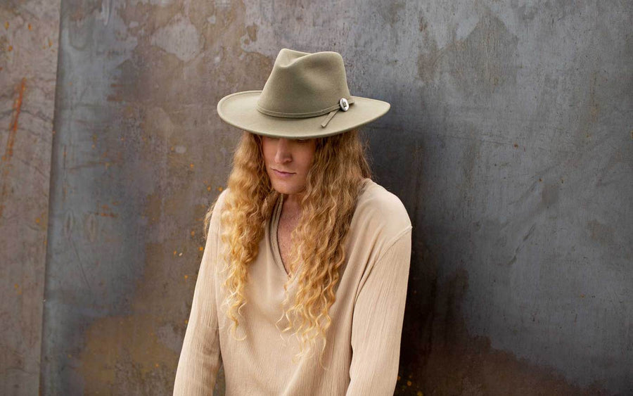 Willa Wide Brim Felt Hat - Pale Olive